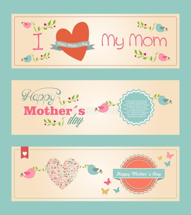 Retro leuke Gelukkige geplaatste banners van de Moedersdag stock illustratie