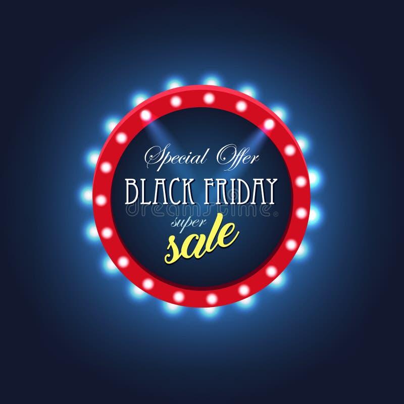 Retro lichte kader van Black Friday Verkoop Hete overeenkomst vector illustratie
