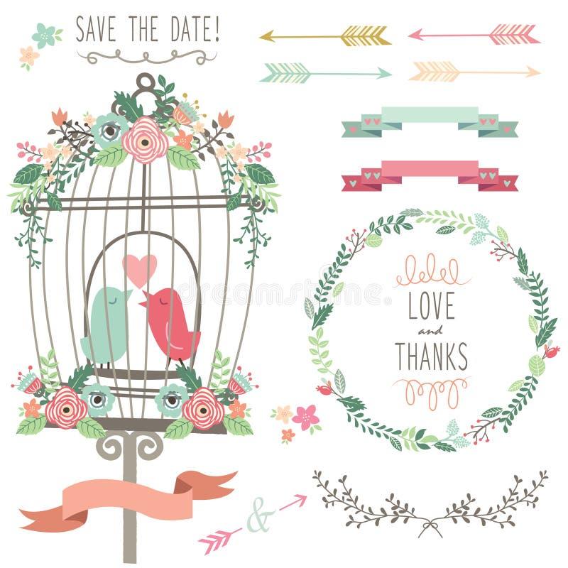Retro- Liebes-Birdcage-und Hochzeits-Blumen vektor abbildung