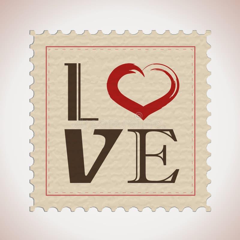 Retro liefdezegel royalty-vrije illustratie