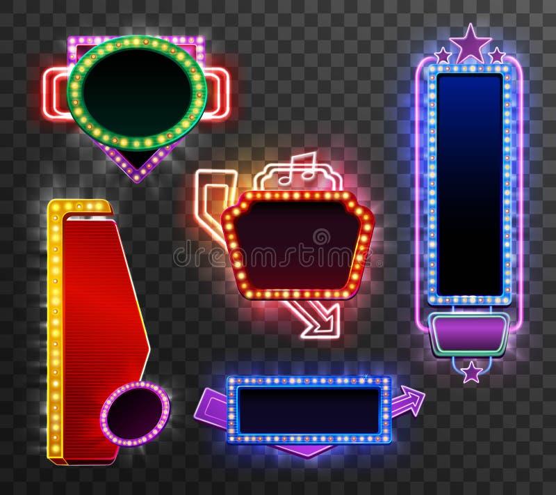 Retro light banner set vector illustration