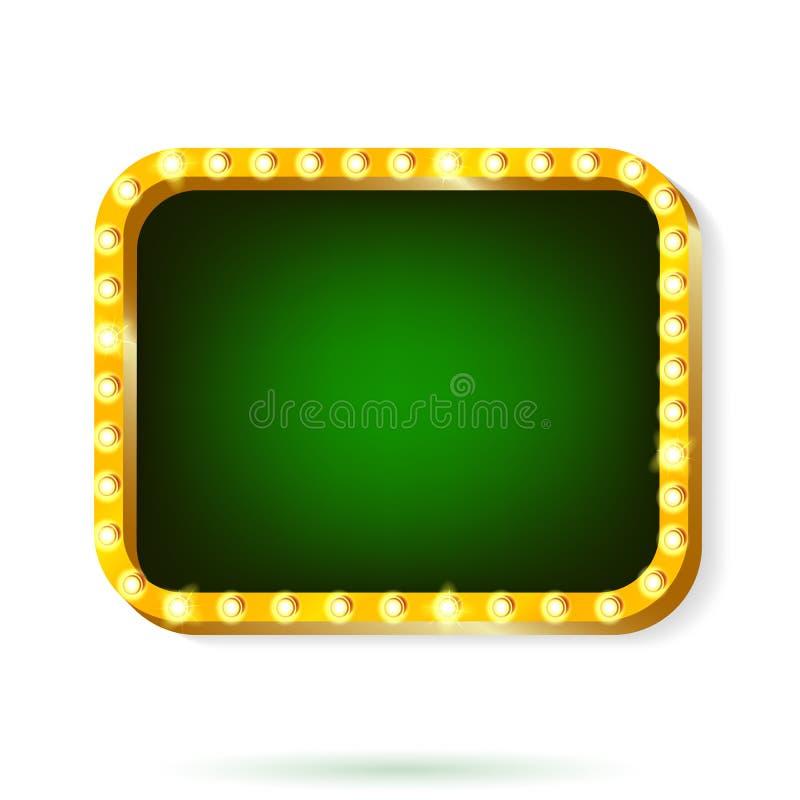 Retro light frame green with light bulbs isolated on white background. Vector illustration of retro light frame isolated on white background vector illustration