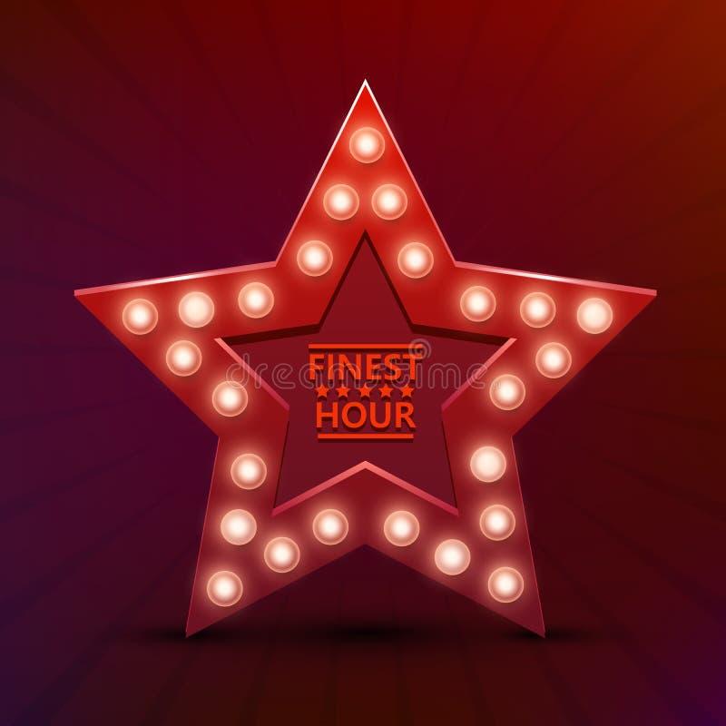 Retro light sign star finest hour. Vintage style banner. Vector illustration royalty free illustration