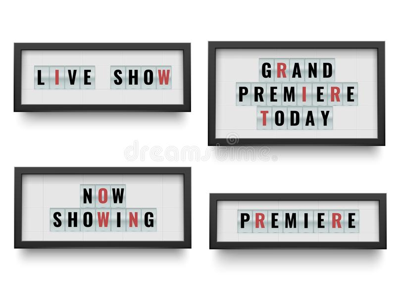 Retro lightbox sign. Announcing light box billboard for movie or theatre announce. Vector illustration set. Retro lightbox sign. Announcing light box billboard stock illustration