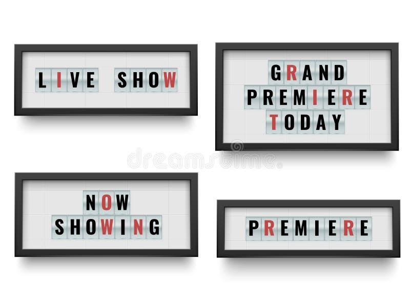 Retro- lightbox Zeichen Ankündigung Leuchtkastenanschlagtafel für Film oder Theater anzukündigen Glänzendes und glattes Schild un stock abbildung