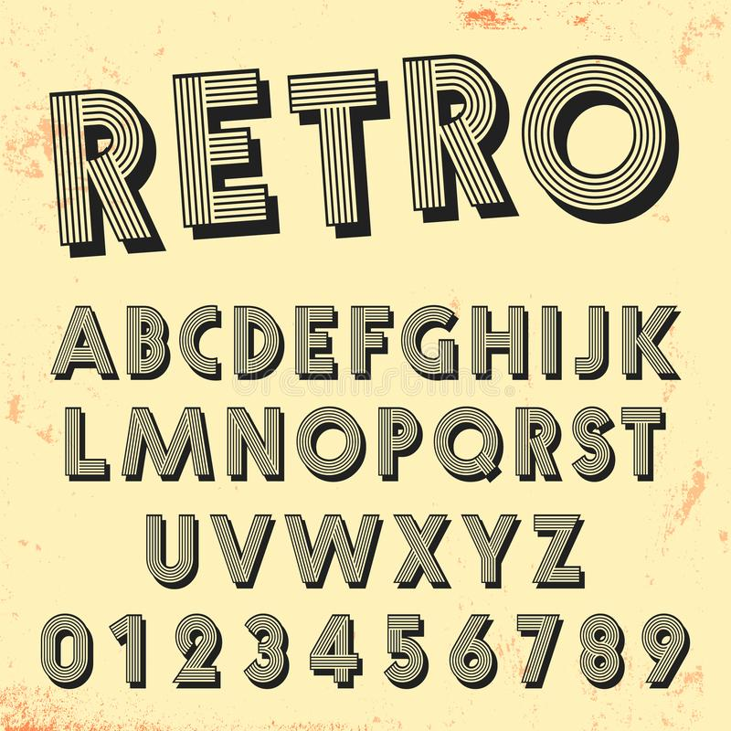 Retro line font template. Set of vintage letters and numbers lines design vector illustration