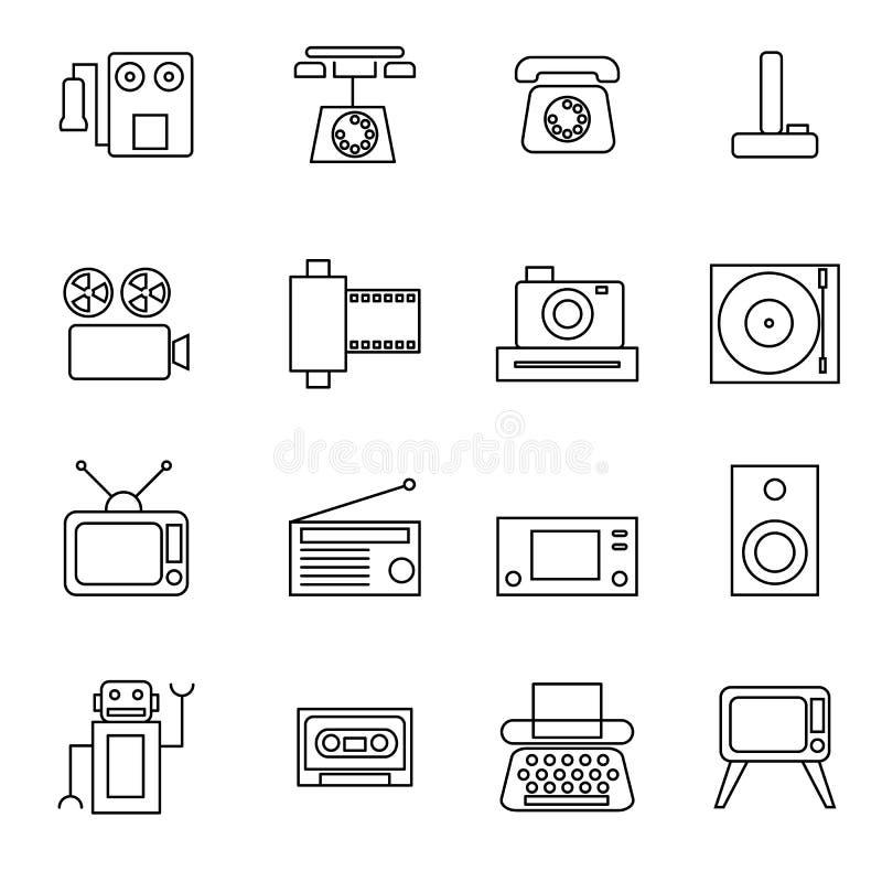Retro linea illustrazione dell'oggetto di vettore messa icone illustrazione vettoriale