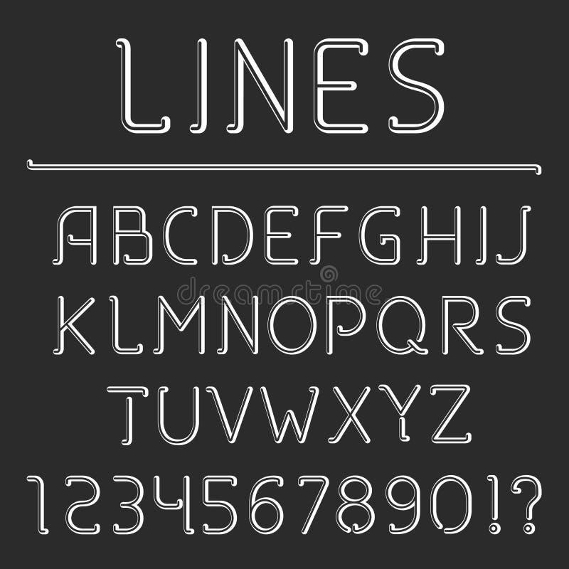 Retro- Linie Alphabet und Zahlen stock abbildung
