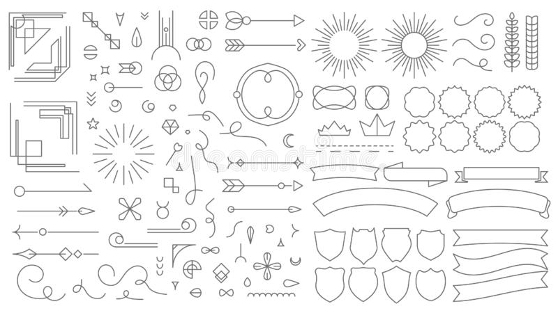 Retro- Linie Emblemelemente Dekorative zeichnende Ausweise der Weinlese, im altem Stil gezeichnete Teiler und RahmenGrenzen Vekto vektor abbildung