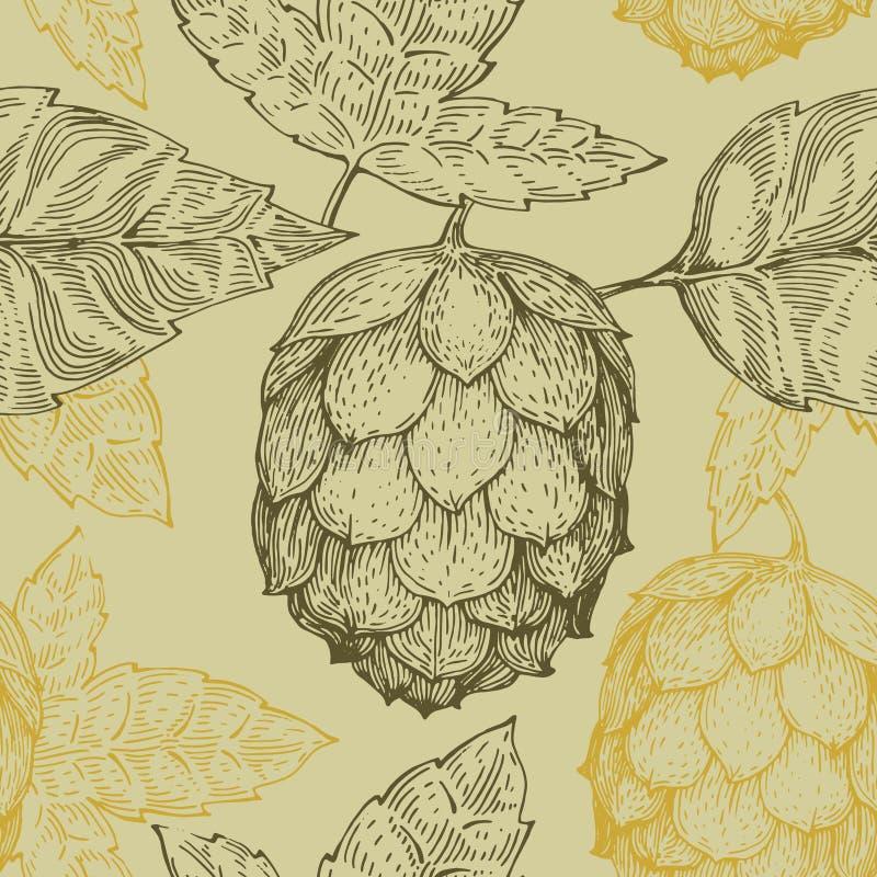 Retro- Linie nahtloses Vektormuster der ursprünglichen Weinlese der Kunst für Bierhaus, Bar, Kneipe, brauende Firma, Brauerei, Ta stock abbildung