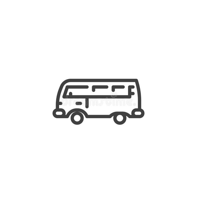 Retro linje symbol för campareskåpbil royaltyfri illustrationer
