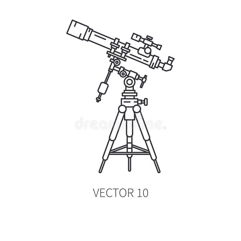 Retro linje symbol för vektor för astronomilinsteleskop Sommarloppsemester, turism som campar 60-talstil starry nattsky vektor illustrationer