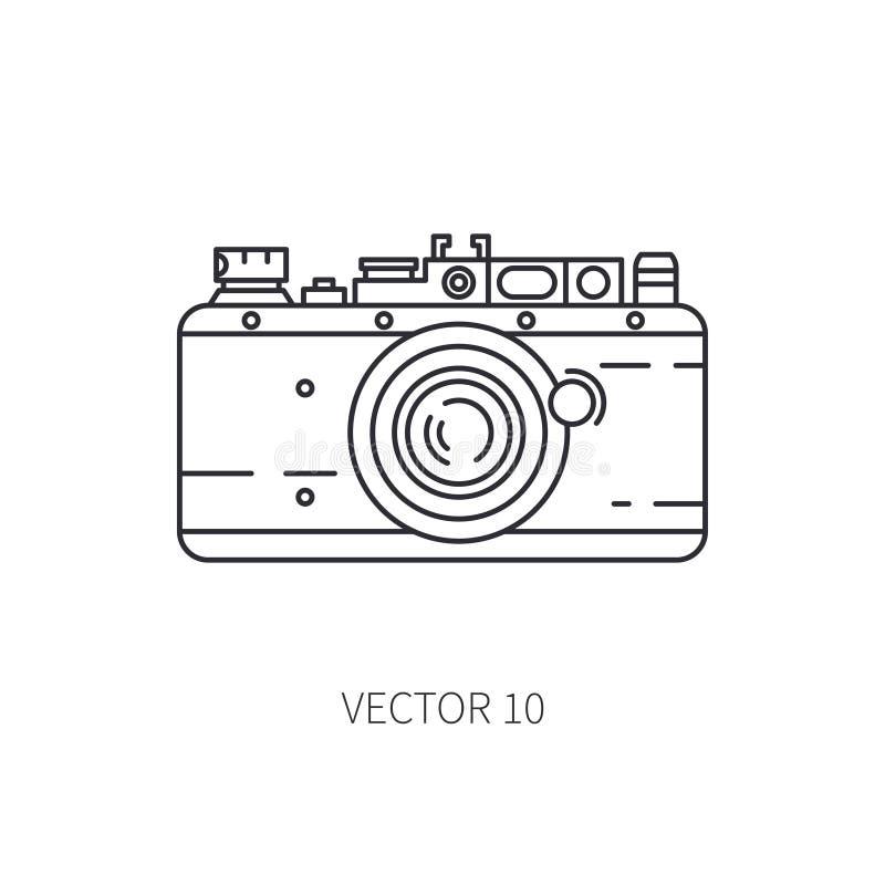 Retro linje symbol för vektor för 35mm filmkamera Sommarloppsemester, turism som campar 60-talstil gammal fotografi stock illustrationer