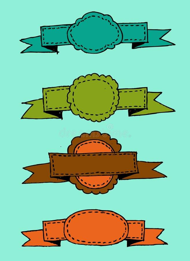 Retro linten en etikettenillustratie stock illustratie