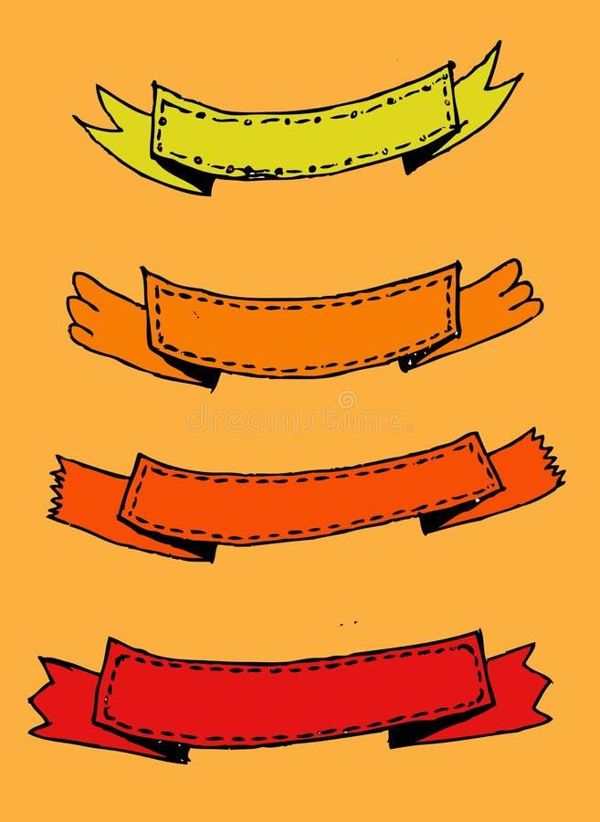 Retro linten en etikettenillustratie royalty-vrije illustratie