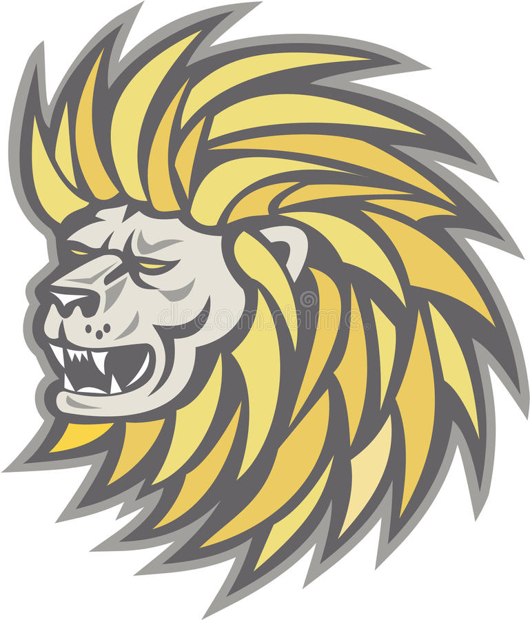 Retro Lion Head With Flowing Mane stock illustratie