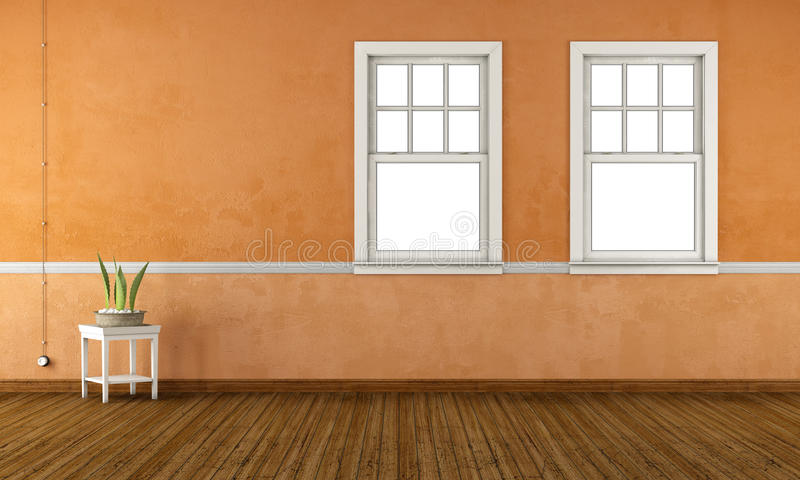 Retro living room with double hung windows - 3d rendering vector illustration