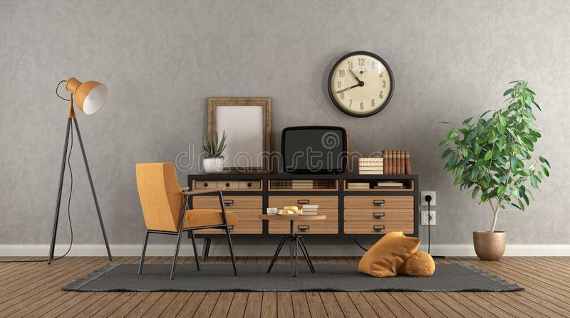 Retro living room with old tv on vintage sideboard. And armchair - 3d rendering royalty free illustration