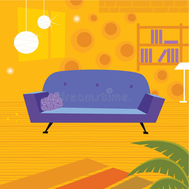 Retro living room in retro style vector illustration