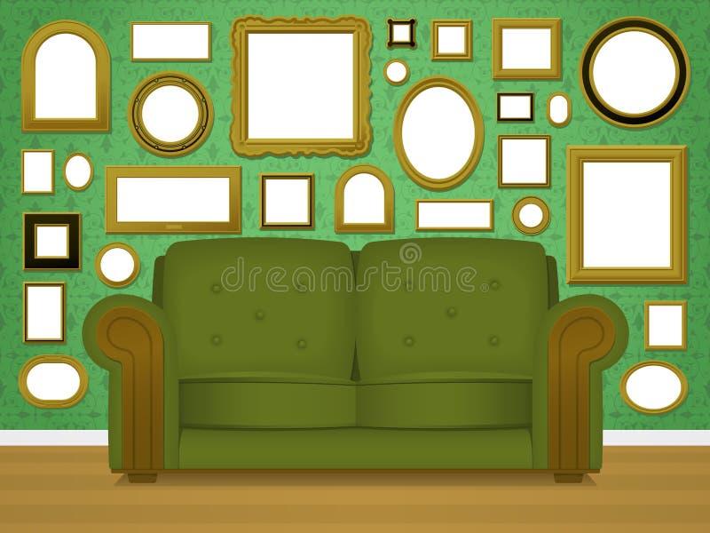 Download Retro livingroom interior stock vector. Image of couch - 24421023