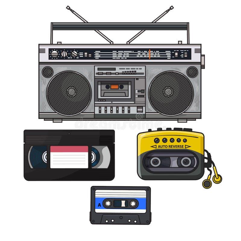 Retro ljudkassett, bandspelare, musikspelare, videoband från 90-tal stock illustrationer