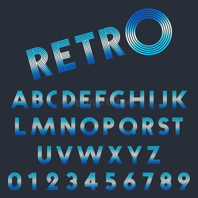 Retro ljus stilsortsmall Uppsättning av bokstäver och nummerlinjen design royaltyfri illustrationer