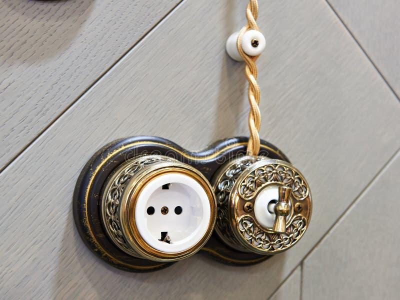 Retro ljus strömbrytare och hålighet royaltyfri foto