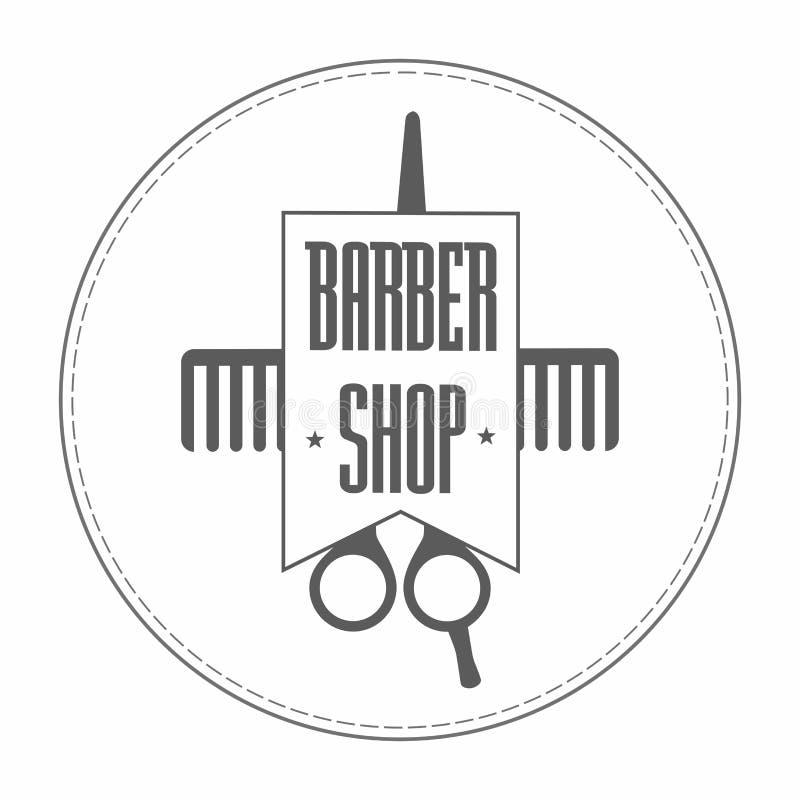 Retro logo d'annata del parrucchiere delle insegne nel colore grigio In forbici e pettine di lavoro di parrucchiere avvolti in un royalty illustrazione gratis