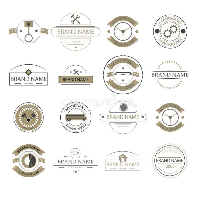 Retro logo d'annata, segni di affari Identifica il meccanismo, i distintivi e gli oggetti Automobili e camion royalty illustrazione gratis
