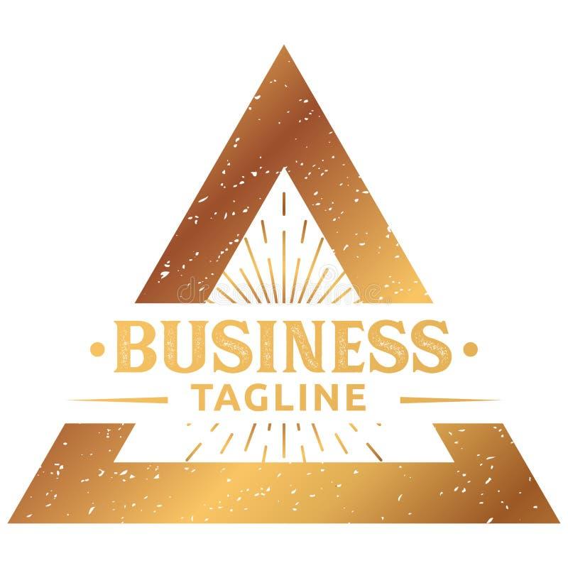 Retro logo del triangolo dell'oro immagine stock libera da diritti