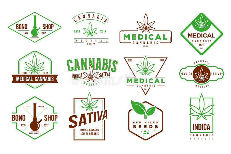 Retro logo della cannabis medica, vettore del modello dell'insieme di etichetta royalty illustrazione gratis