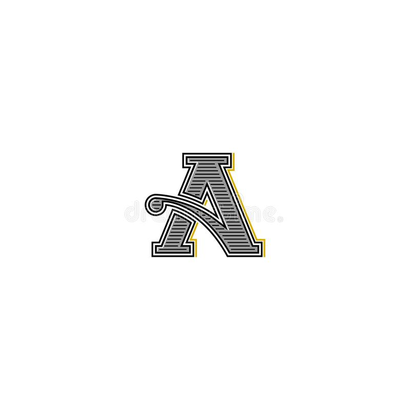 Retro logo della lettera, iniziale dell'invito di nozze del monogramma di tipografia, elemento d'annata di progettazione dell'emb illustrazione vettoriale