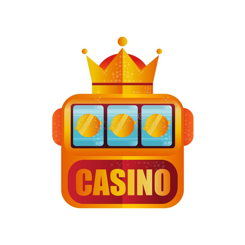 Retro logo design for casino. Slot machine with crown. Winning the jackpot. Game for money. Vector element for mobile royalty free illustration