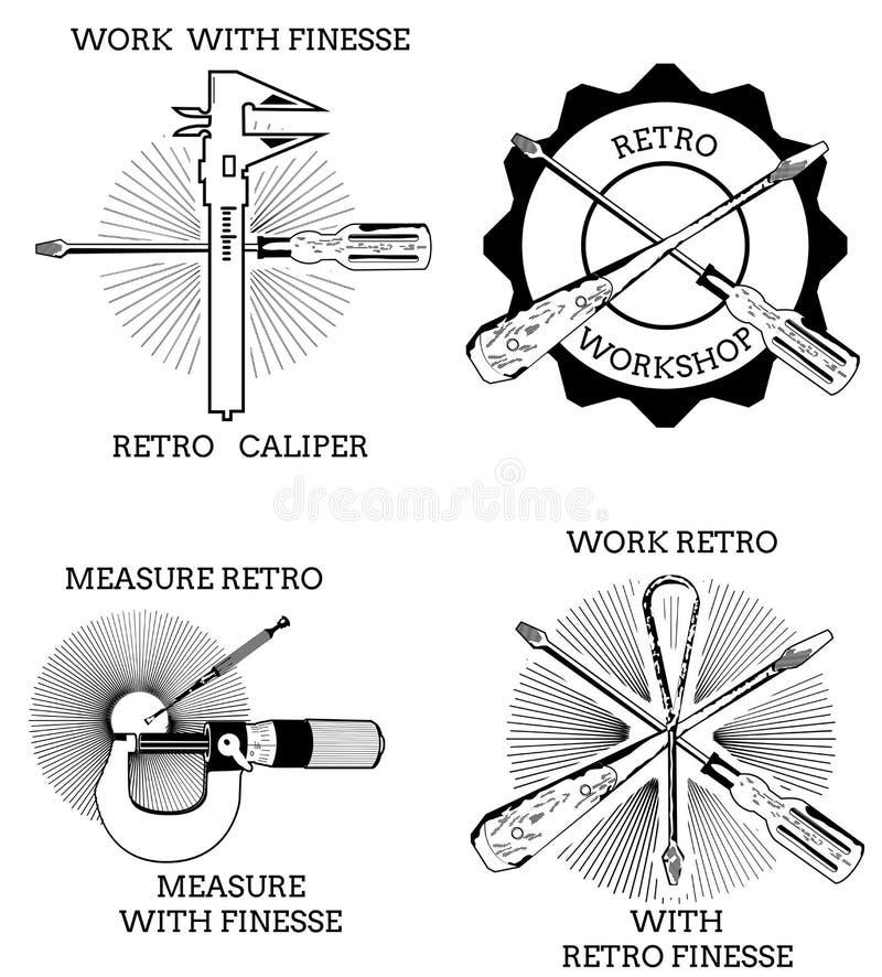 Retro- Logotasterzirkel lizenzfreie abbildung