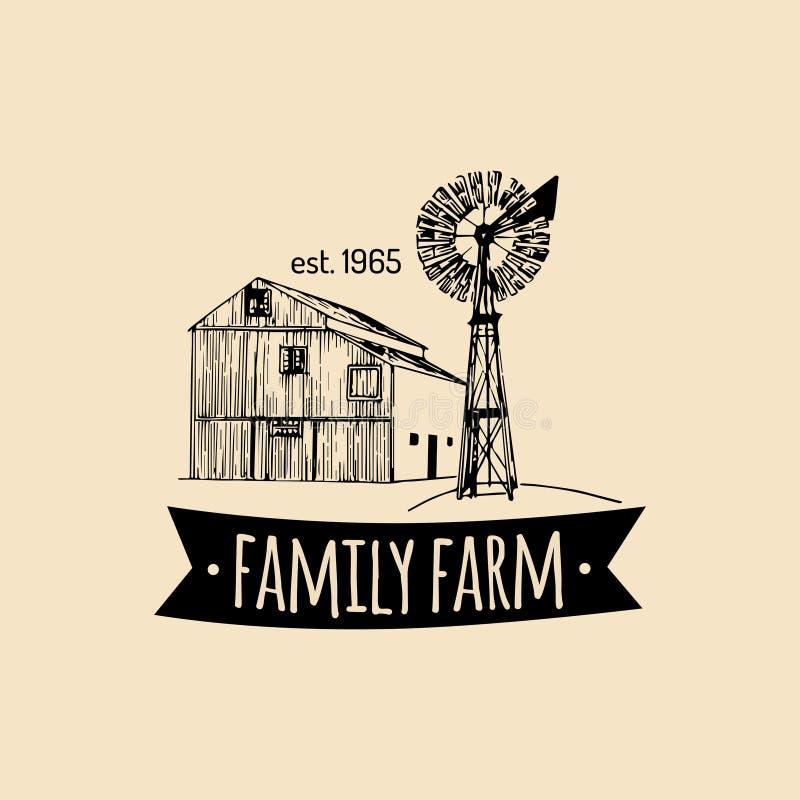 Retro logotype dell'azienda agricola familiare di vettore Manifesto premio organico dei prodotti di qualità La mano d'annata ha s illustrazione vettoriale