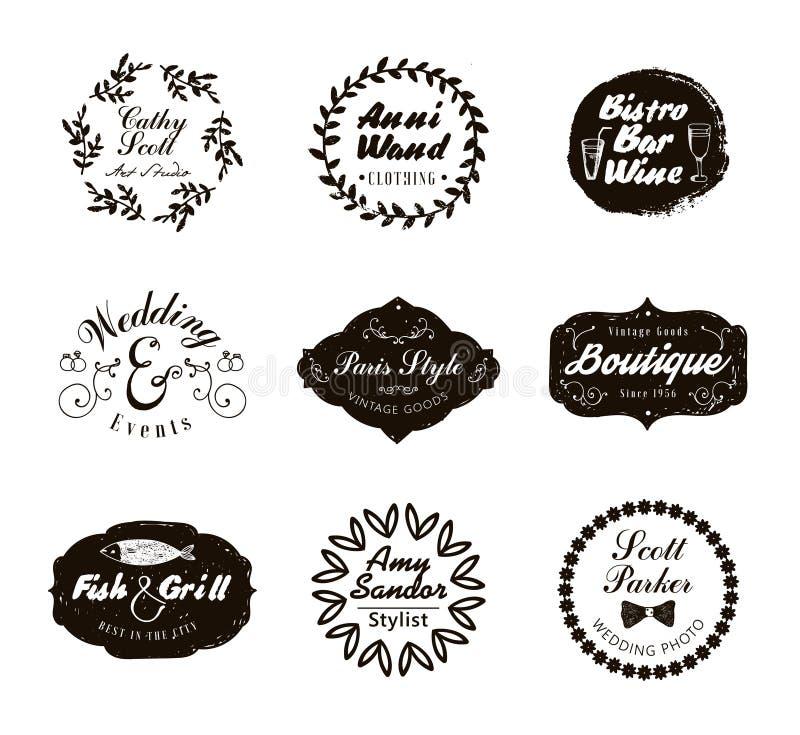Retro Logotypes ed insegne d'annata messi Vector gli elementi di progettazione, i segni di affari, il logos, identità illustrazione vettoriale