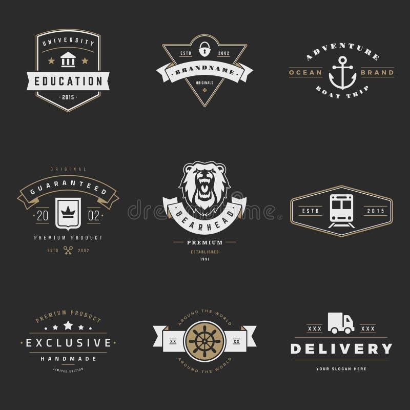 Retro logotypvektoruppsättning Tappningdiagram vektor illustrationer