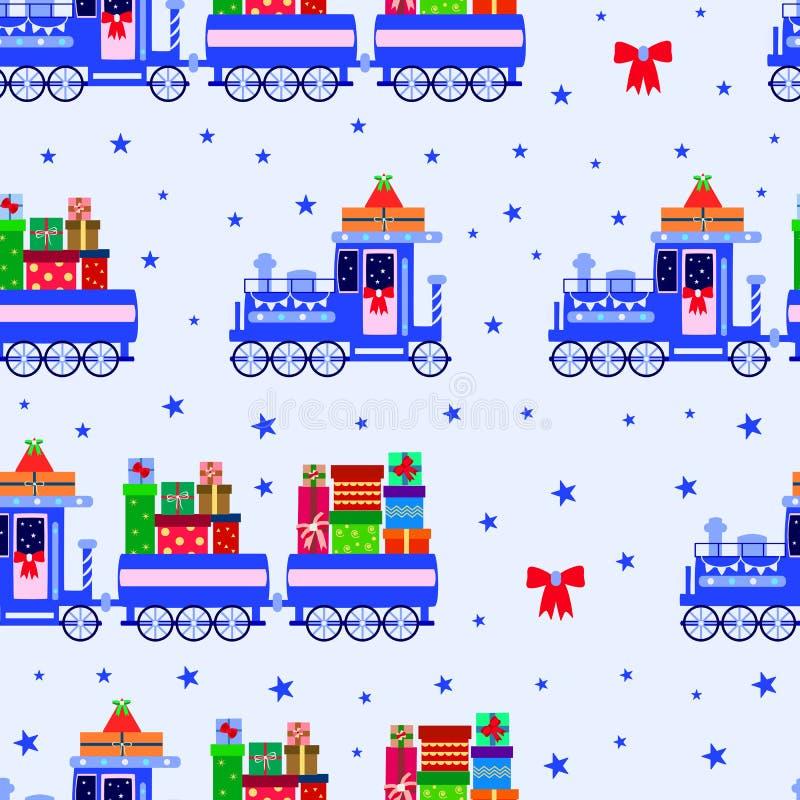 Retro lokomotiv för ungar med gåvabilar, sömlös modell på en blå bakgrund stock illustrationer