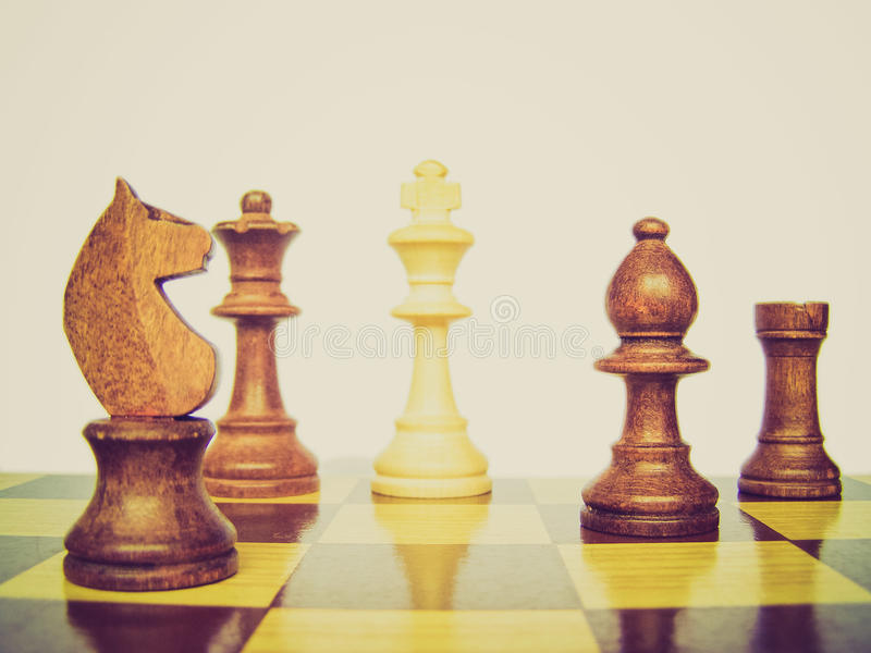 Retro look Chess checkmate. Vintage looking Chess board with checkmate scenary royalty free stock images