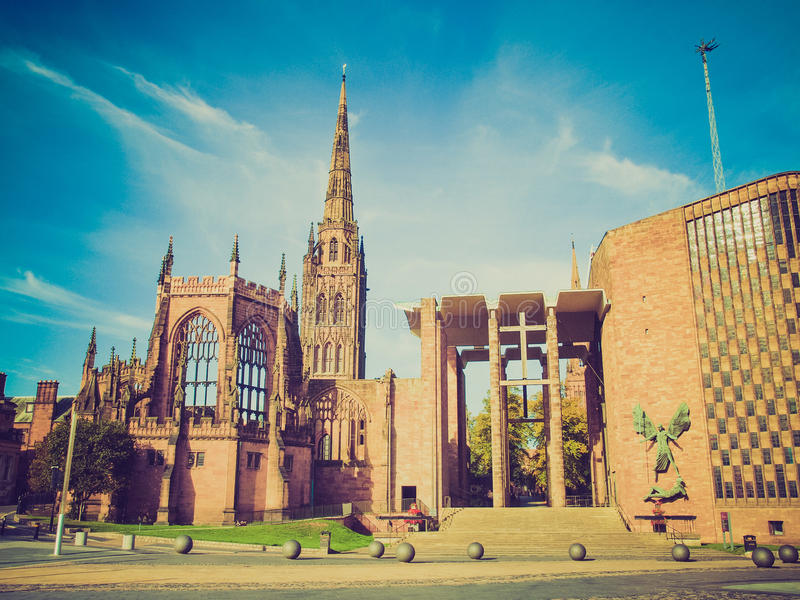Retro look Coventry Cathedral stock images