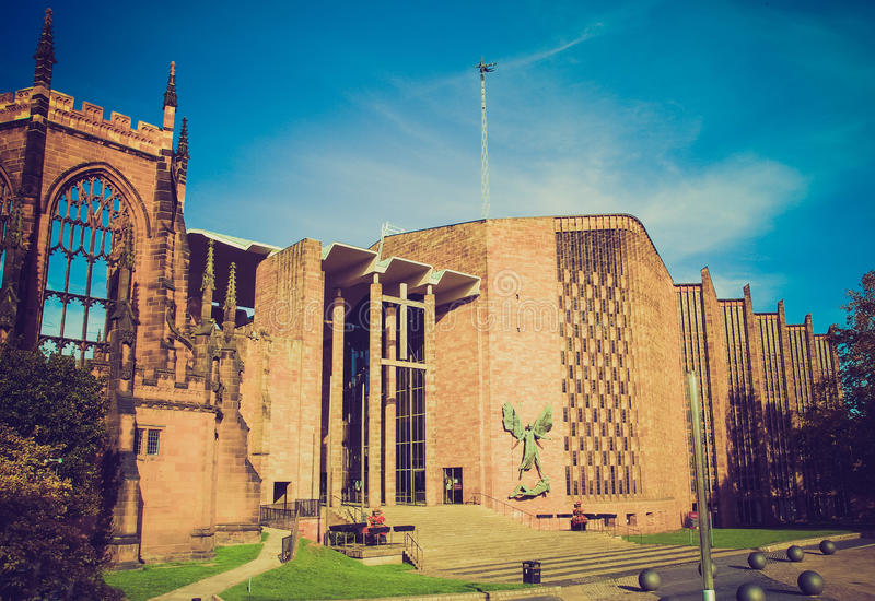 Retro look Coventry Cathedral royalty free stock photo