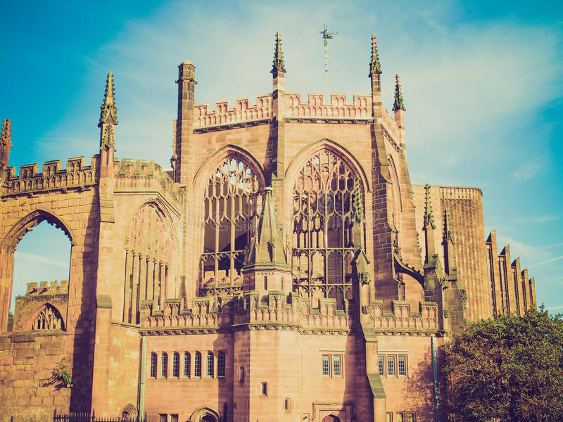 Retro look Coventry Cathedral royalty free stock photography
