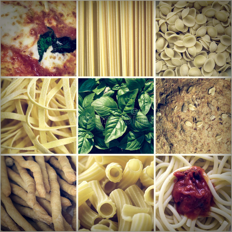 Retro look Italian food collage royalty free stock photography