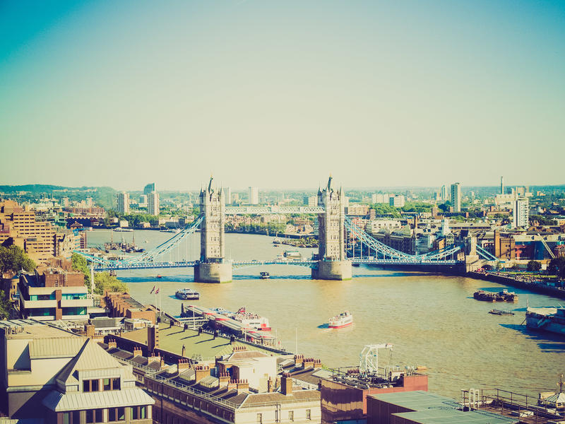 Retro look Tower Bridge London royalty free stock photos