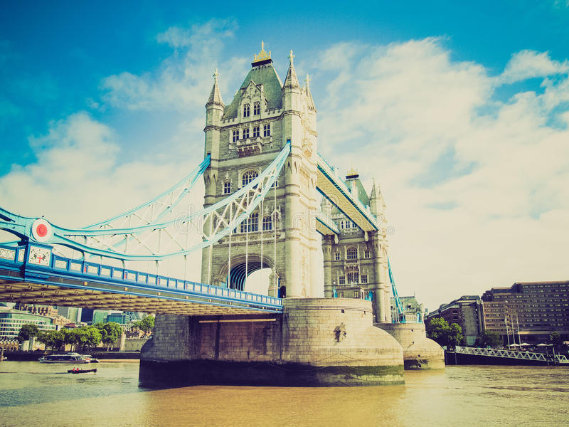 Retro look Tower Bridge, London stock images