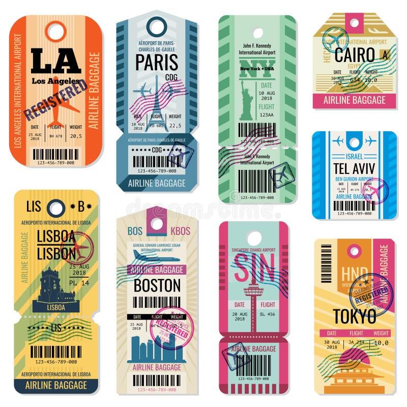 Retro loppbagageetiketter och bagagebiljetter med samlingen för flygsymbolvektor stock illustrationer