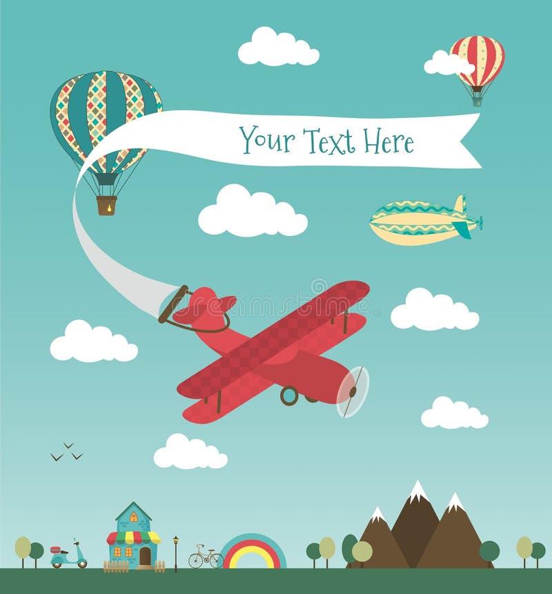 Retro Lotniczego samolotu sztandaru projekt ilustracji