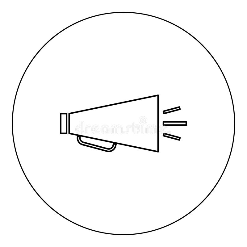 Retro loudspeaker icon black color in circle vector illustration isolated. Outline vector illustration