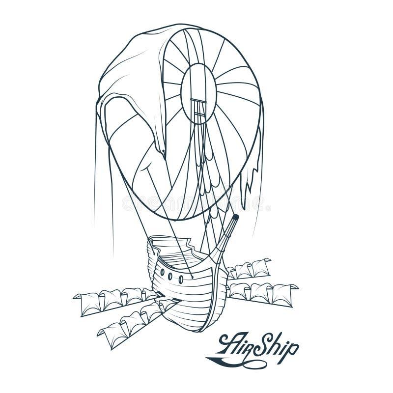 Retro luftskepp Ballong Retro skepp som svävar i luften Flygholländare royaltyfri illustrationer