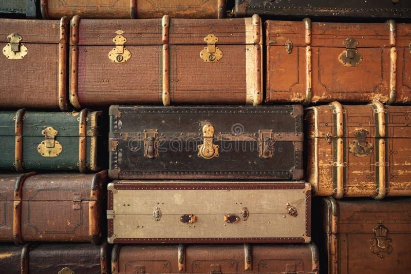 Retro luggages torby tło zdjęcie royalty free